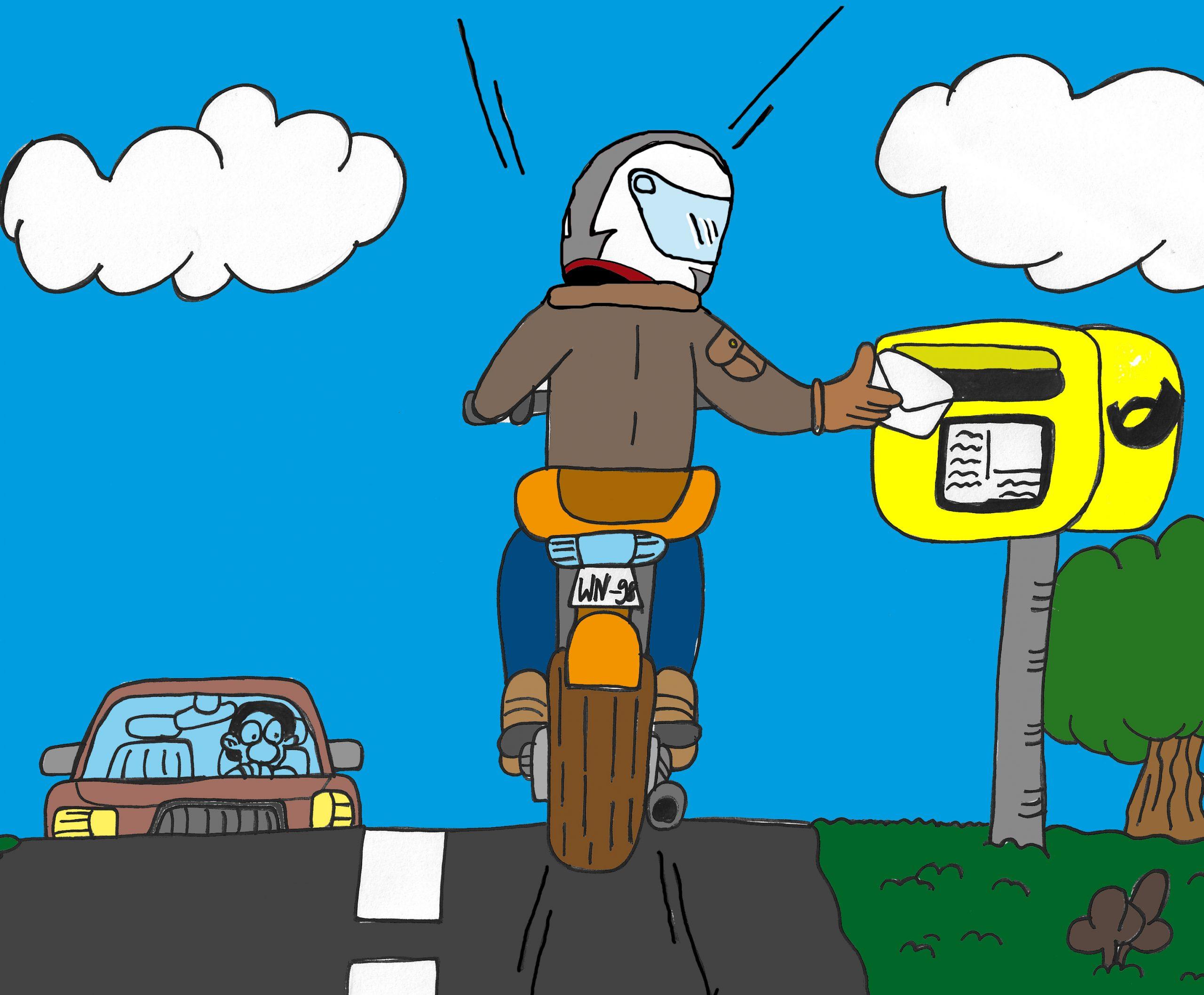 Motorrad fahren - Brief in Briefkasten